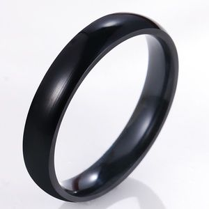 Black Stainless Steel 4mm Mens Band size 12